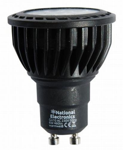 National Electronics GU10 Black Line 6W 460 Lumen 40° warm w