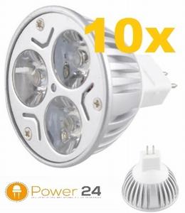 10x MR16 LED Spot Warmwit 9 W - dimbaar