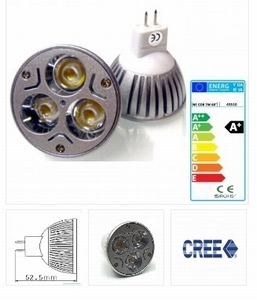 Cree MR16 - 9W - 12 V. - 640 lumen - 90° warm wit - dimbaar
